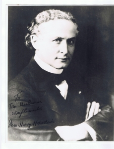 Houdini photo signed by Bess, (Mrs. Houdini), and given to Tom